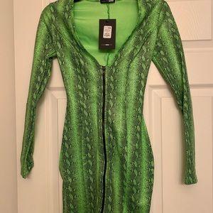 Green snake print mini dress.